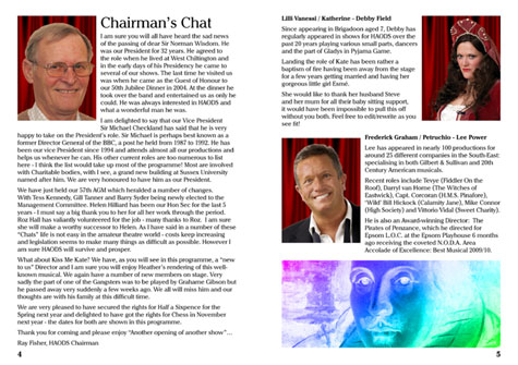 Chairmans's Chat and Principal Biographies Part 1